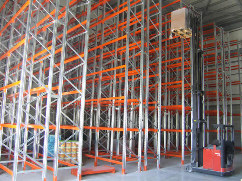 Pallet racking in a row with organized products